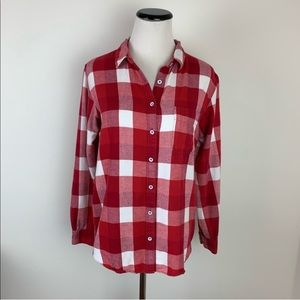 Madewell Flannel Button Down Top Red White Small